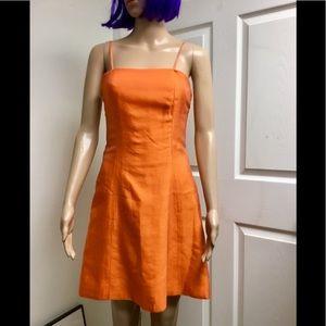 VERA WANG orange silk dress size 6